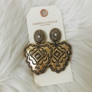 American Eagle boho gold statement earrings